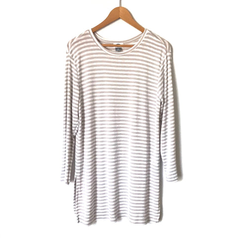 Old Navy Tan and Ivory Tall Long Sleeved Top- Size L