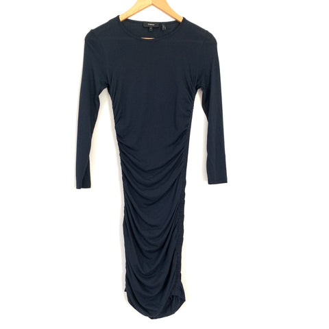 Theory Navy Jersey Cotton Ruched Dress- Size S