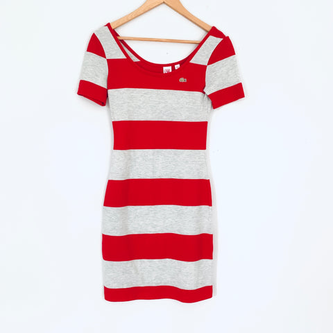 Lacoste L!VE Red/Grey Striped T Shirt Dress- Size XS