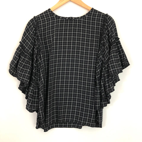 LOFT Black Check Blouse with Ruffle Sleeve - Size XS