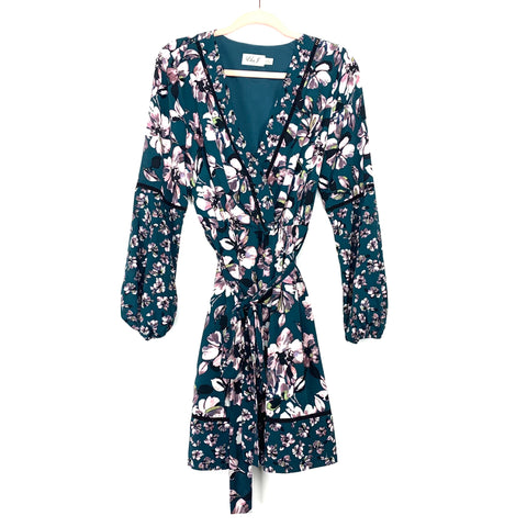 Eliza J Hunter Green Floral Belted Dress With Balloon Sleeves- Size 12
