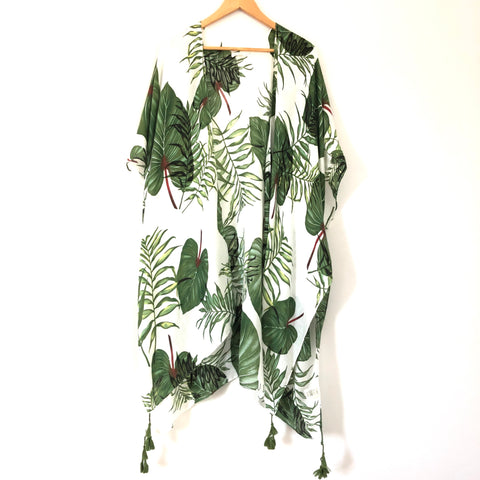Do Everything in Love Palm Print Kimono with Tassels