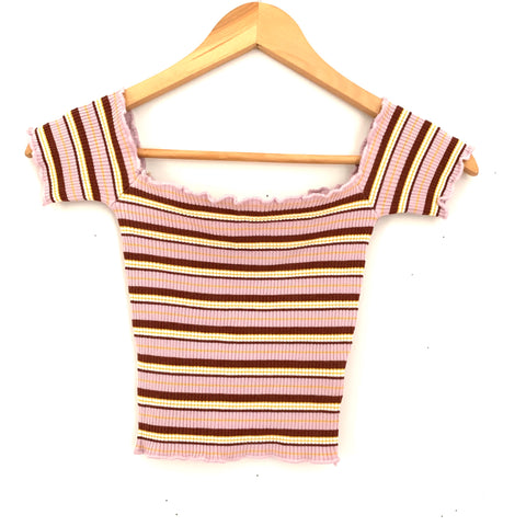 Love Tree Ribbed Striped Off the Shoulder Crop Top- Size S