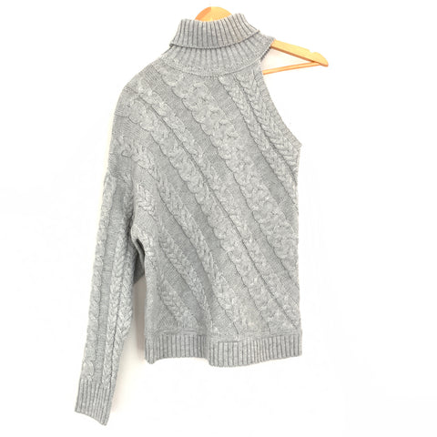 Anama Grey One Shoulder Cable Knit Sweater- Size S
