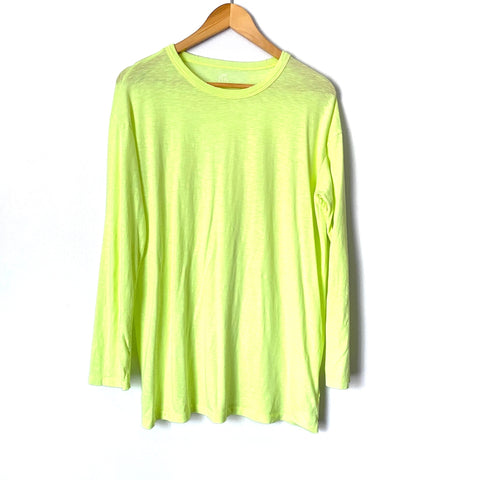 Aerie Neon Green Real Soft Distressed Hem Long Sleeve Top- Size XS