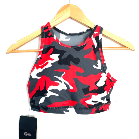 Wear It to Heart Cherry Camo Sports Bra NWT- Size S