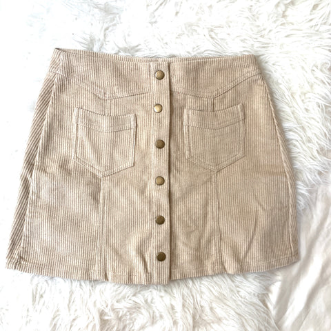 Pink Lily Corduroy Tan Skirt with Front Snaps and Pockets- Size S