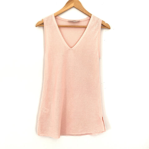 LOFT Light Pink Knit V-neck Tank- Size XS (see notes)