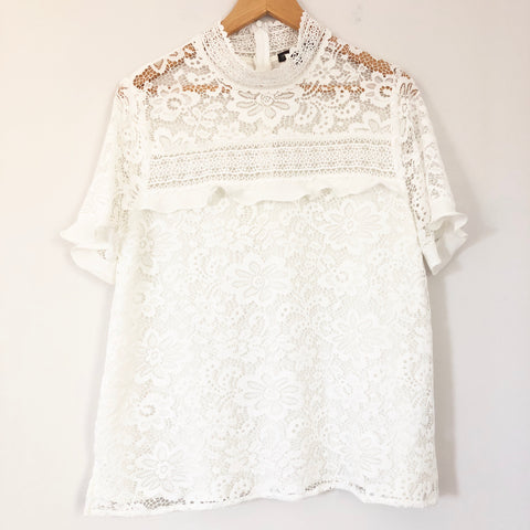 Gibson White Lace Mock Neck Top- Size L