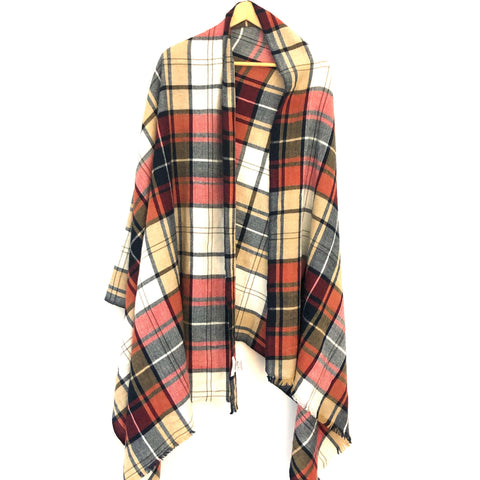 Sole Society Red/Blue Plaid Blanket Scarf