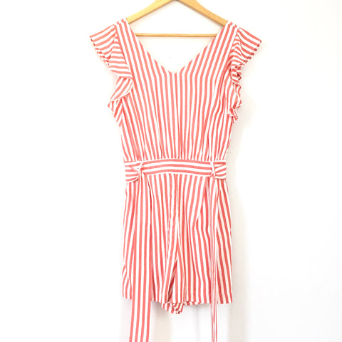 LOFT Ruffle Sleeve Romper with Belt- Size 4 Petite (see notes)