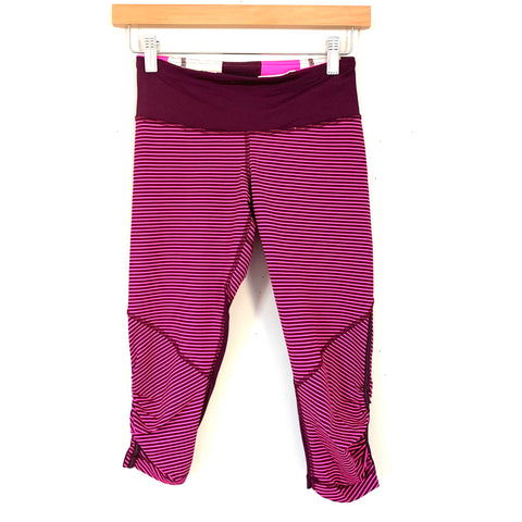 "Lululemon Bright Pink/Wine Striped Crop Legging with Ruching- Size ~4 (Inseam 17"")"