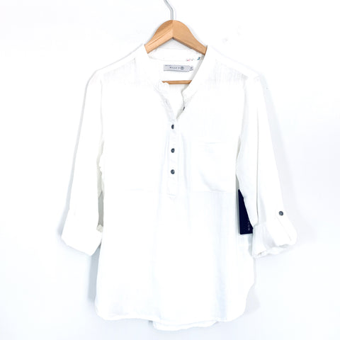 Billy T White Linen Blend Pocket Pullover Blouse NWT- Size S (See notes!)