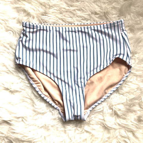 Albion Blue Striped High Waisted Bikini Bottoms- Size S (BOTTOMS ONLY)