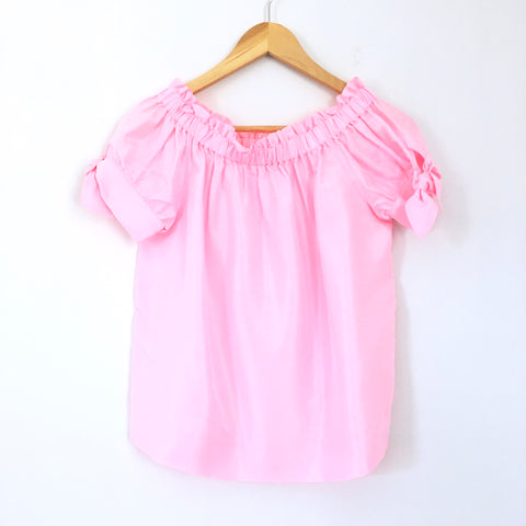 J Crew 100% Silk Pink Top with Bow Tie Sleeves- Size 2 (see notes)