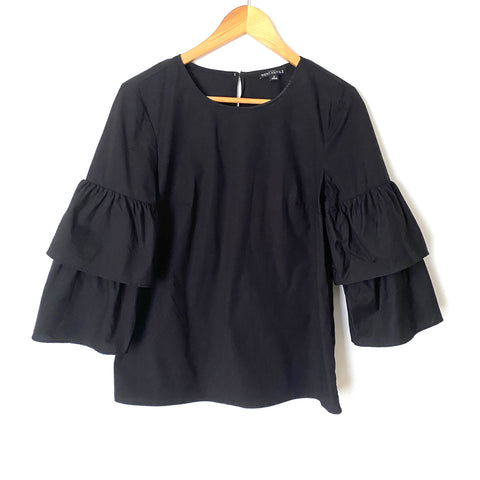 J Crew Mercantile Black Ruffle Tiered Bell Sleeve Top- Size 2