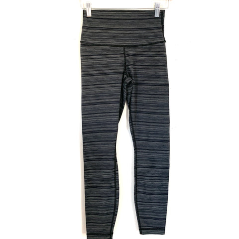 "Lululemon Grey/Black Striped Crop Leggings- Size ~4 (Inseam 24"")"