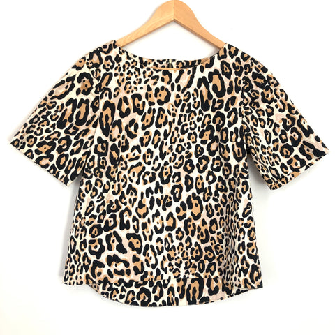 TOPSHOP Leopard Blouse Exposed Zipper - Size 4