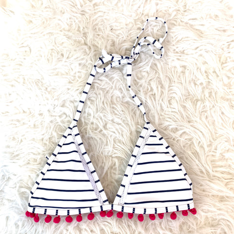 No Brand White Striped Pom Pom Swim Top- Size S