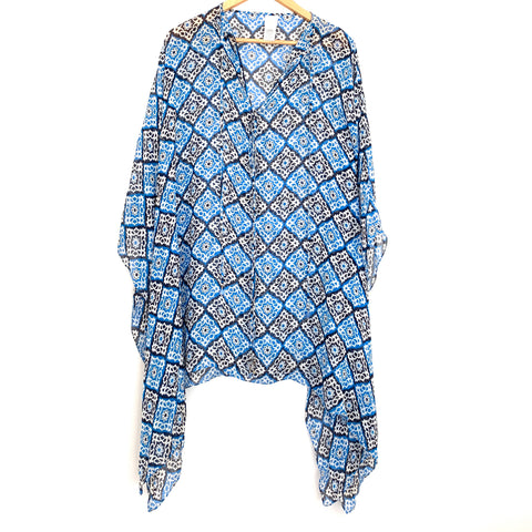 Milly Cabana Silk Coverup with Blue Pattern- Size S