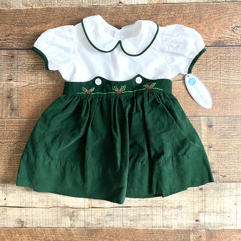 Lullaby Set Holly Berry Green Corduroy Dress NWT- Size 18M