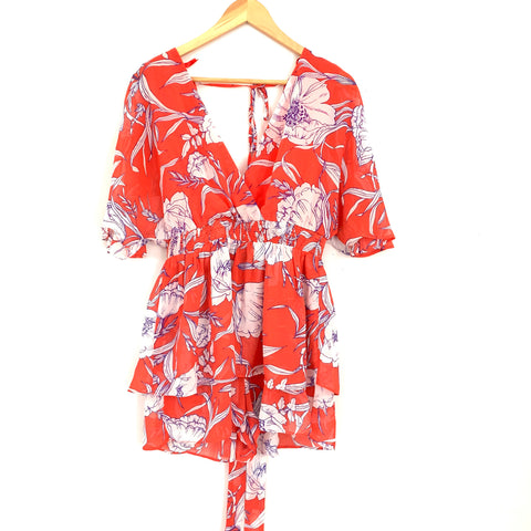 Pink Lily Red/Orange Floral Deep V Romper- Size S