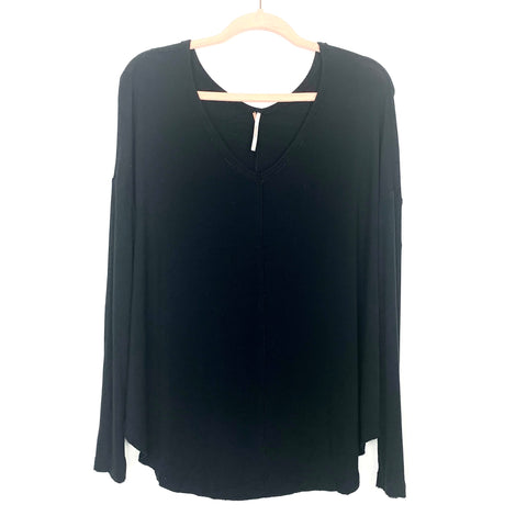 Free People Black Flowy Long Sleeve Top- Size XS