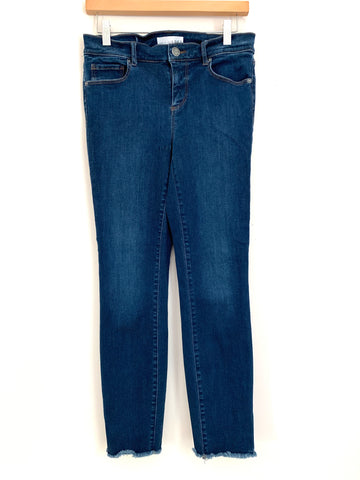 "LOFT Dark Wash Raw Hem Jeans- Size 27 (Inseam 27"")"