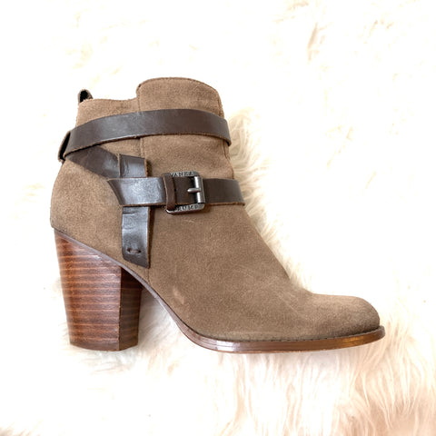 Ivanka Trump Tan Suede Bootie with Leather Straps- Size 6