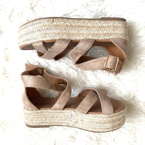 Bamboo Strappy Espadrille Platform Shoes- Size 7