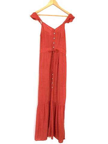 Carly Jean Red Orange Button Front Tank Maxi- Size S