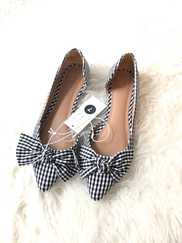 A New Day Black Gingham Flats with Bows NWT- Size 7