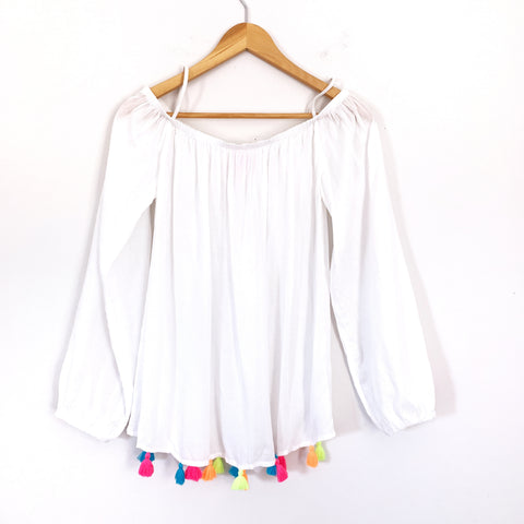 Lilly Pulitzer White Off the Shoulder Tassel Blouse- Size M