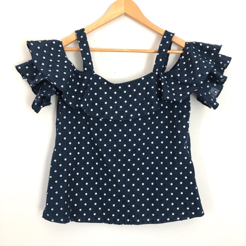 J. Crew Navy Polka Dot Ruffle Off the Shoulder Blouse - Size 2