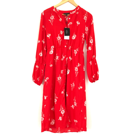 Bobeau Red Orange Floral Button Front Midi Long Sleeve Dress NWT- Size XS