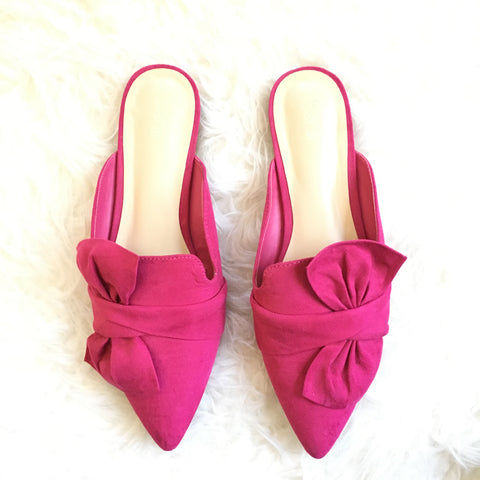 Bar III Pink Bow Mules- Size 10