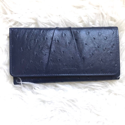 Access Denied Navy Genuine Leather Clutch Wallet