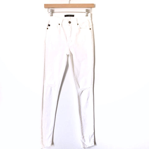 "Kancan White Distressed Raw Hem Skinny Jeans- Size 25 (Inseam 29"")"