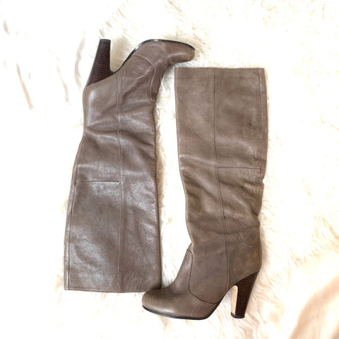 Dolce Vita Taupe Leather Heel Boots- Size 6