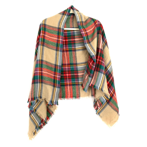 No Brand Tan/Green/Red Plaid Blanket Scarf