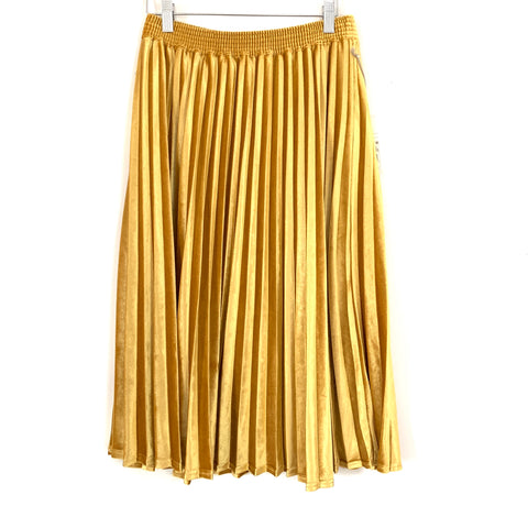 A New Day Velvet Yellow Pleated Midi Skirt NWT- Size S
