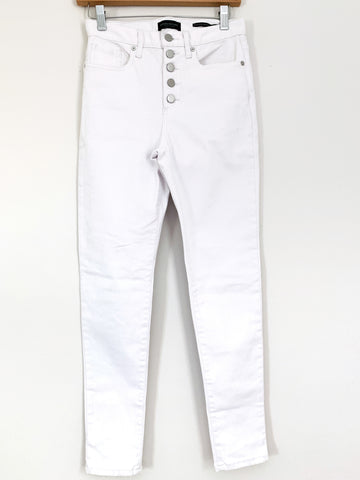 "Banana Republic White Button Front High Rise Skinny Jeans- Size 26 (Inseam 27"")"