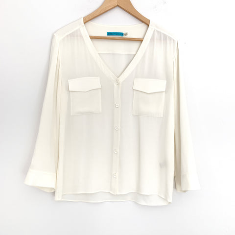 Alice + Olivia Ivory Sheer Silk Button Up- Size XS