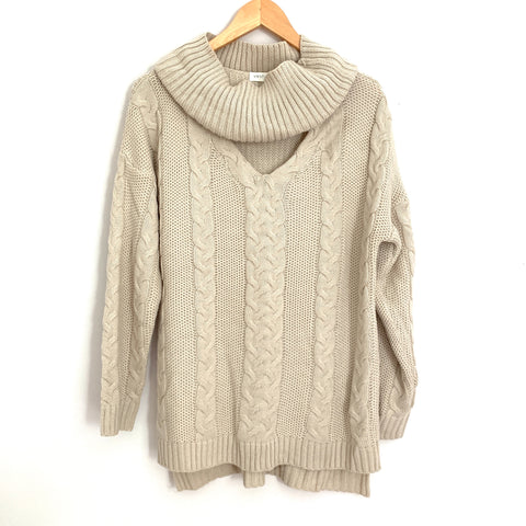 Vestique Cream Cable Knit V Cowl Neck  Sweater- Size S