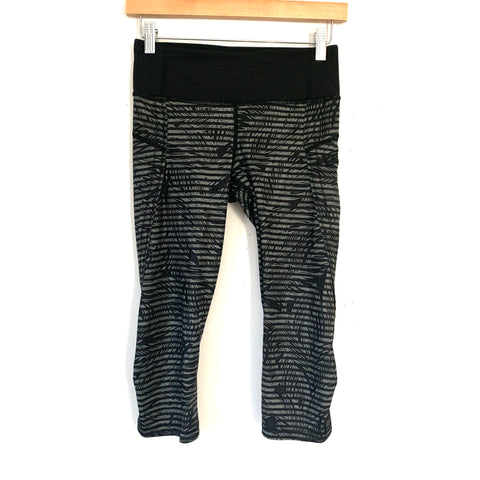 "Lululemon Black Crop Legging with Palm Print and Stripe Overlay (with Side Zipper Pocket and Curved Hemline)- Size 4 (Inseam 17"")"