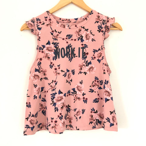 Kate Spade Work It Pink Floral Ruffle Active Tank- Size S