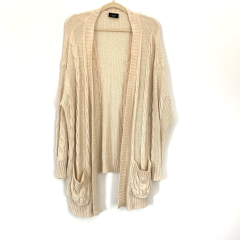 Vici Cream Oversized Cable Knit Cardigan Sweater- Size S/M