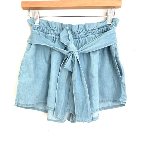 Love Tree Elastic Waist Chambray Shorts- Size S