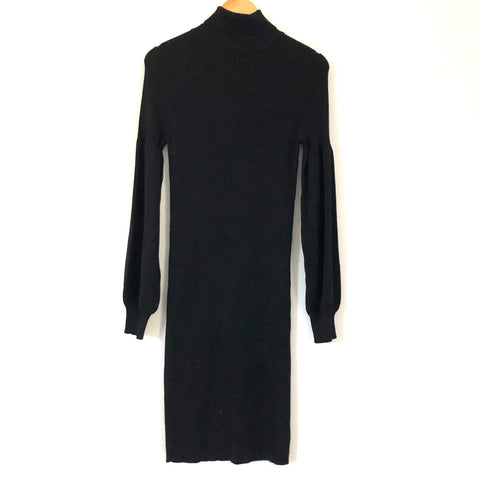 Ribbed Style RD Style Turtleneck Dress with Bubble Sleeves- Size L