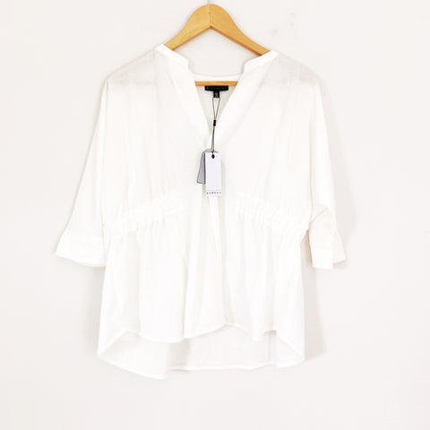 Bobeau White Linen-like V Neck with Cinched Sides NWT- Size XS